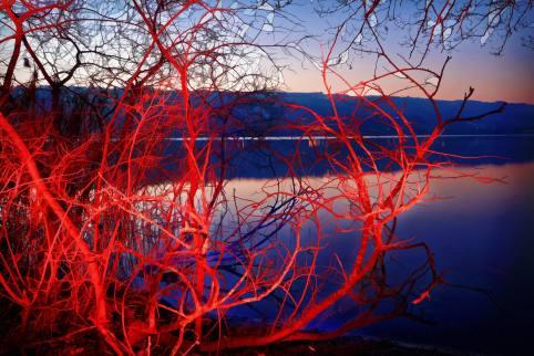 Impressionen Ligth Painting (Lichtmalen) mit Taschenlampe und Farbfilter am Ufer des Baldeggersees Nähe Baldegg/LU.