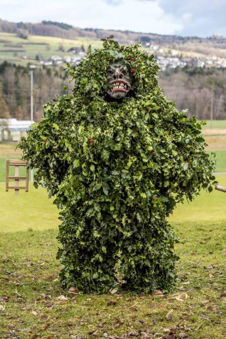 SANDRO ROTH als STÄCHPAUMIG (Stechpalme), Symbol für Fruchtbarkeit, den Frühling und das immergrünende Leben.
