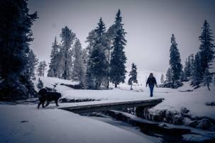 Balou mit Esther unterwegs im tiefverschneiten und saukalten (-9Grad) Schwendi-Kaltbad Glaubenberg/OW.