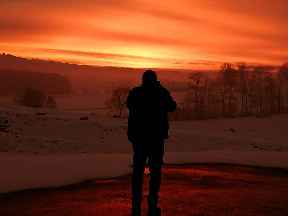 MakingOf: Wohlige Wärme in tiefster Kälte: Sonnenuntergang bei Hildisrieden